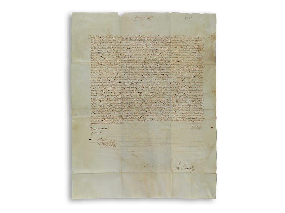Pergamenturkunde mit eigenhändiger Signatur von Herzog Alfonso II d'Este