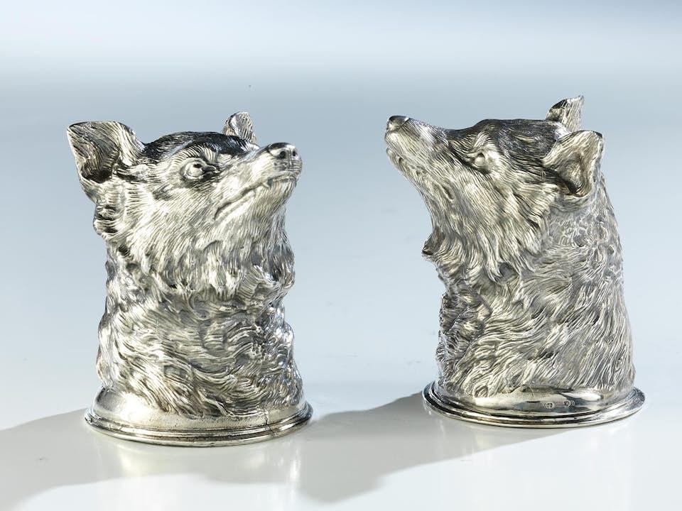 Paar silberner Fuchskopfbecher