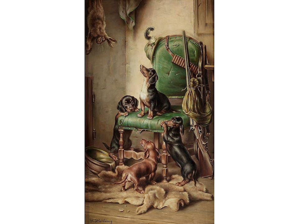 """Carl Reichert, Pseudonym """"J. Hartung"""" 1836 Wien – 1918 Graz. Beliebter österreichischer Landschafts- und Tiermaler."""