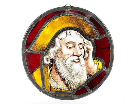Glastondo mit Darstellung eines nachsinnenden Propheten