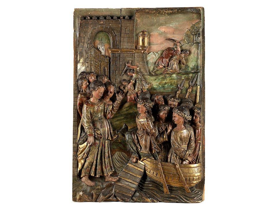 Schnitzrelieftafel mit Wiedergabe der Legende der Heiligen Ursula von Köln