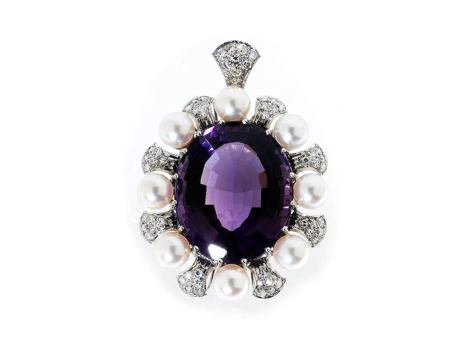 Amethyst-Perl-Diamantanhänger