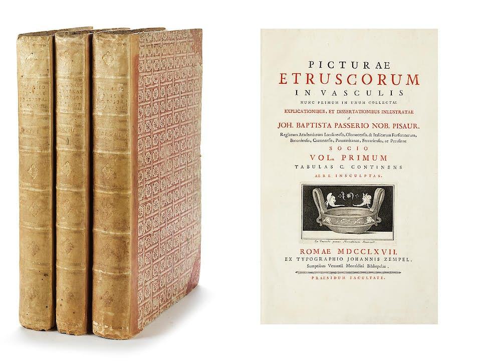 PASSERI, Giovanni Battista. Picturae Etruscorum in vasculis nunc primum in unum collectae, explicationibus, et dissertaionibus inlustrate.
