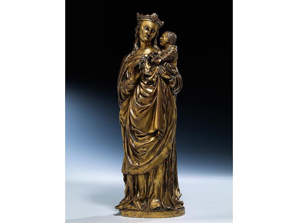 Vergoldete Bronzestatue einer Madonna mit dem Kind