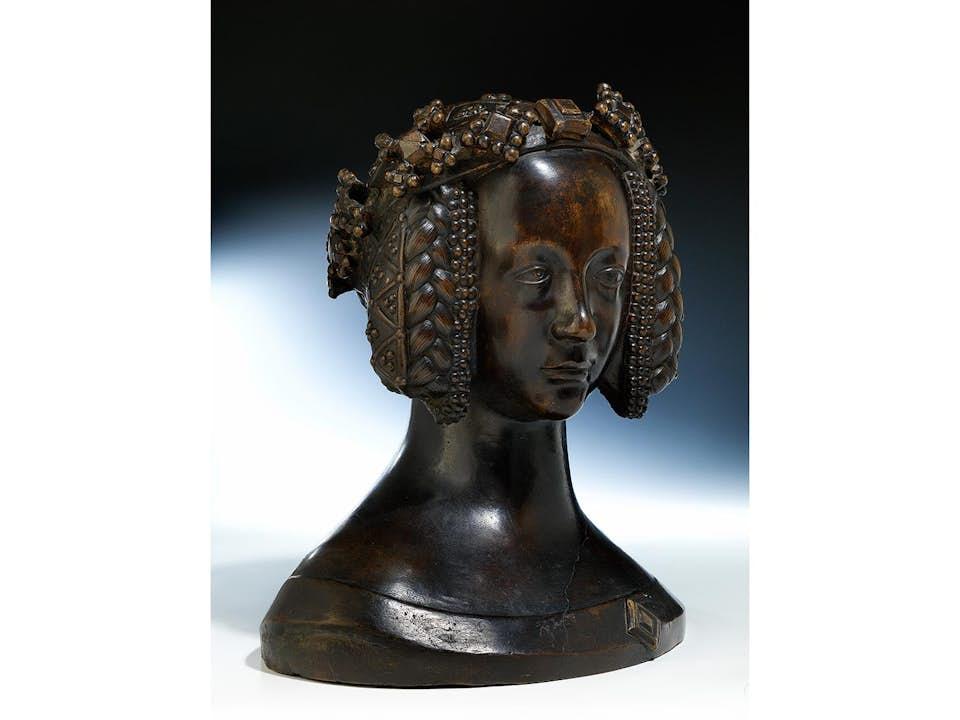 Seltene museale Bronzebüste einer höfischen Dame mit Kronreif