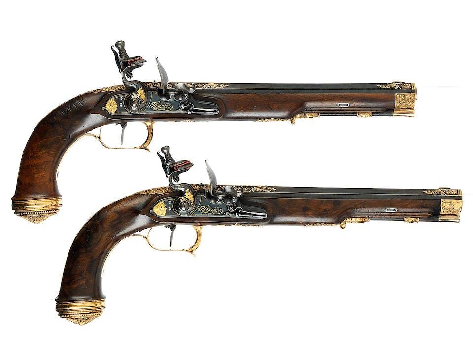 Paar höchst elegante museale Duellpistolen von Michael Burdikin