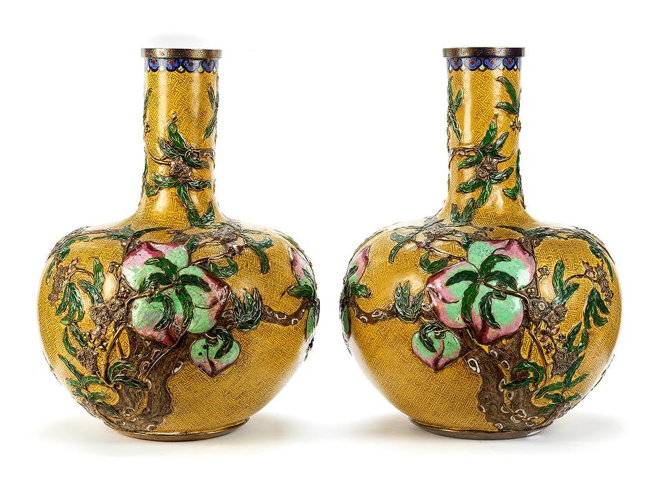Paar Yuan Shatang Champlevé-Emailvasen