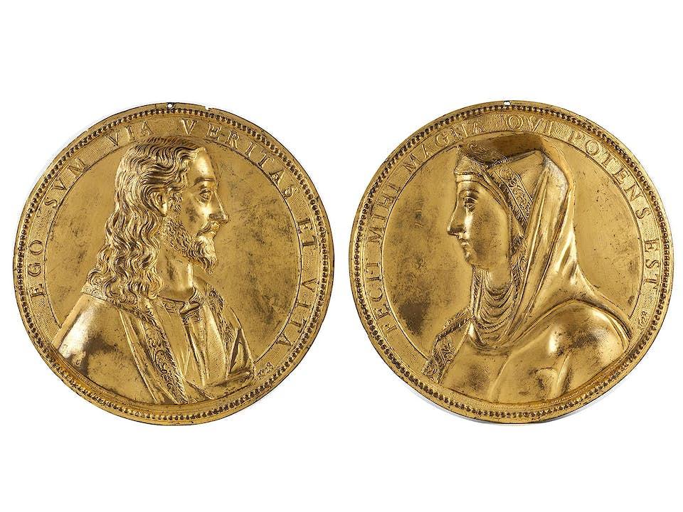 Paar vergoldete Relieftondi mit Büstendarstellungen
