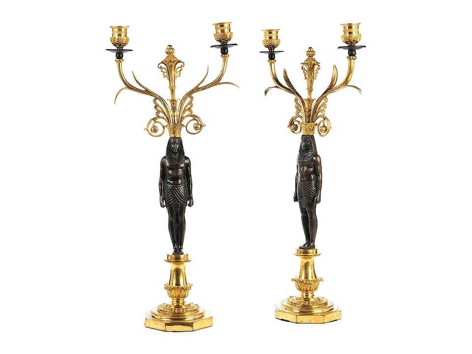 Paar klassizistische Kerzenleuchter