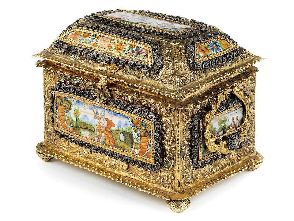 Barockes Vermeil-Kästchen mit Emaildekor
