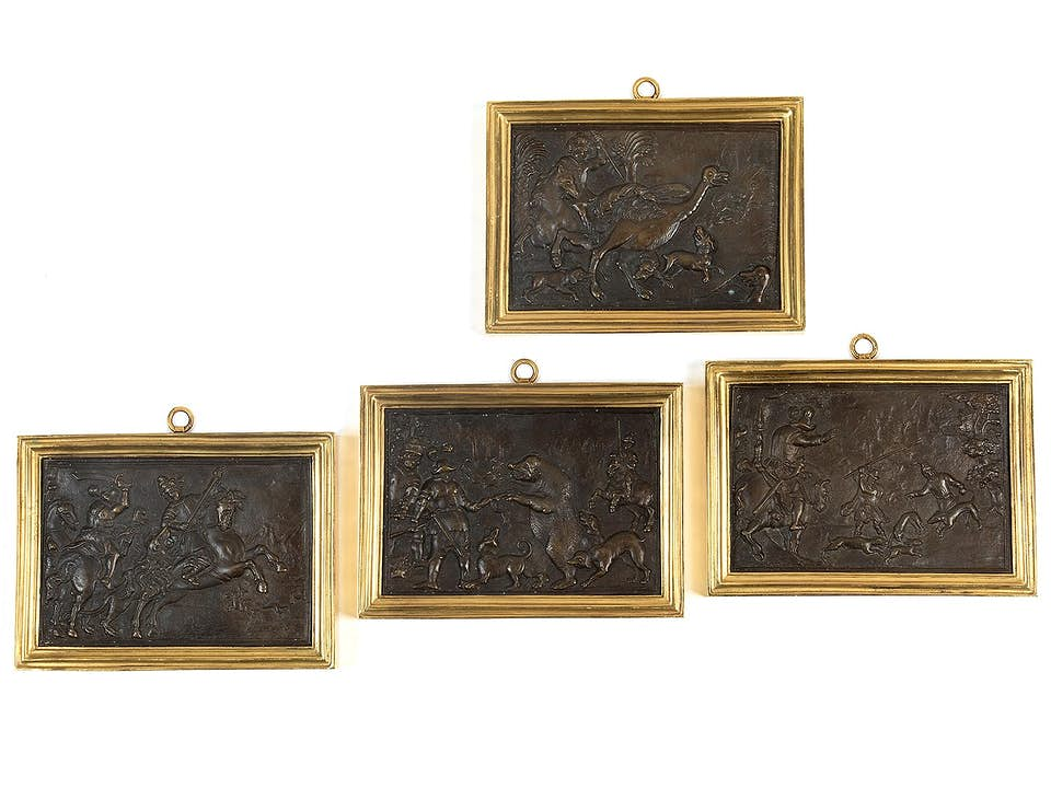 Satz von vier Bronzereliefbildtafeln