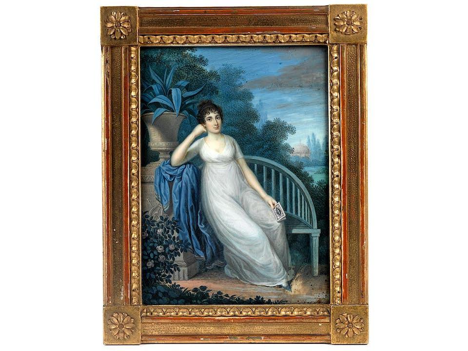 Miniaturportrait mit Empire-Dame in Parklandschaft