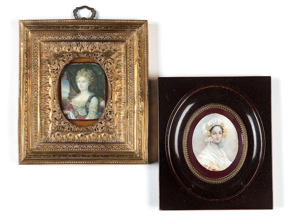 Zwei Miniaturen mit Damen