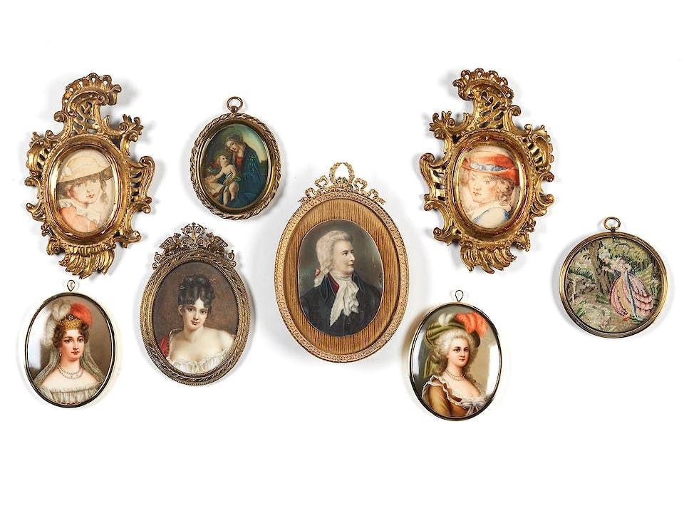 Konvolut von acht Miniaturen des 19./ 20. Jahrhunderts