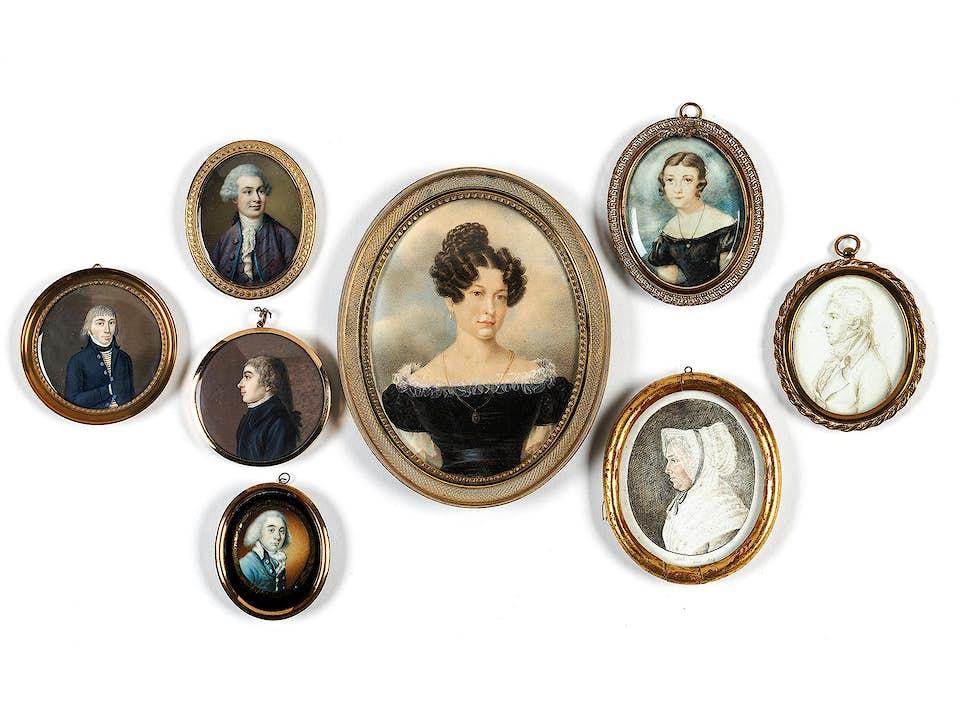 Konvolut von insgesamt acht Miniaturen des 18./ 19. Jahrhunderts