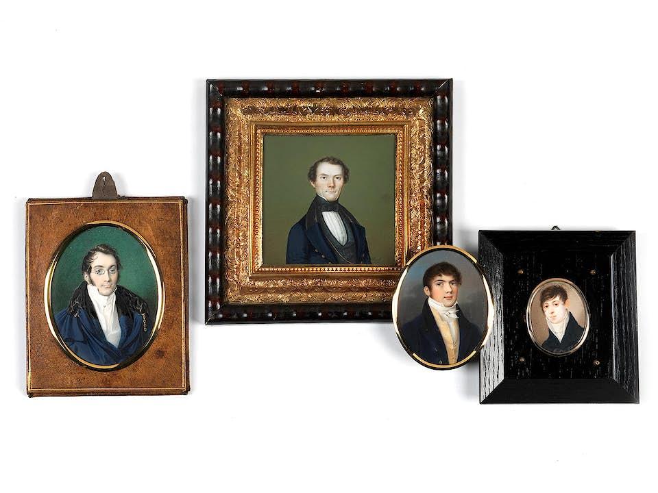 Konvolut von vier Miniaturen mit Herrenportraits des Biedermeier