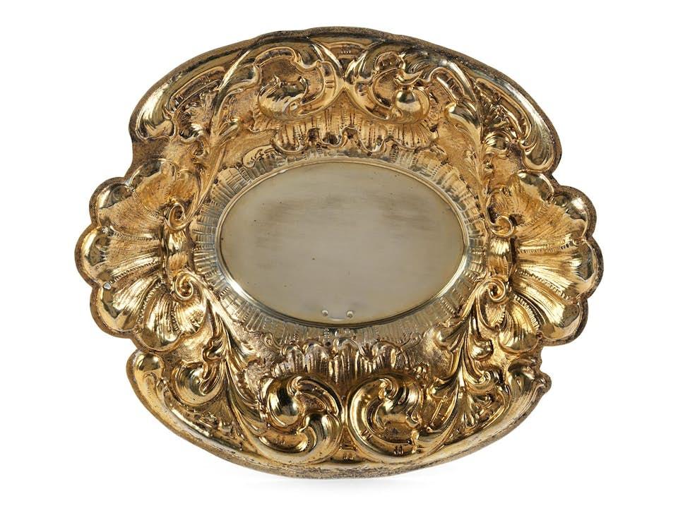 Vergoldete Silberschale