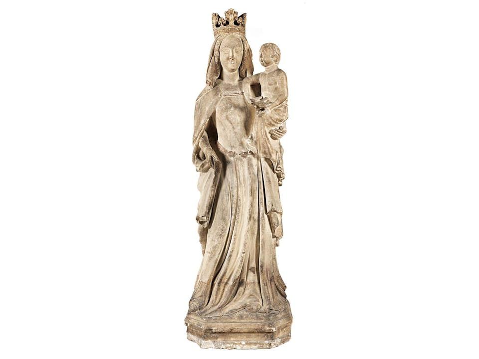 Große Skulptur der Maria mit dem Kinde