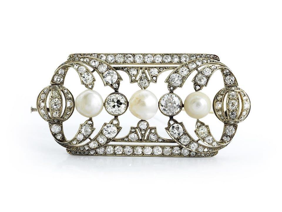 Art déco-Perl-Diamantbrosche