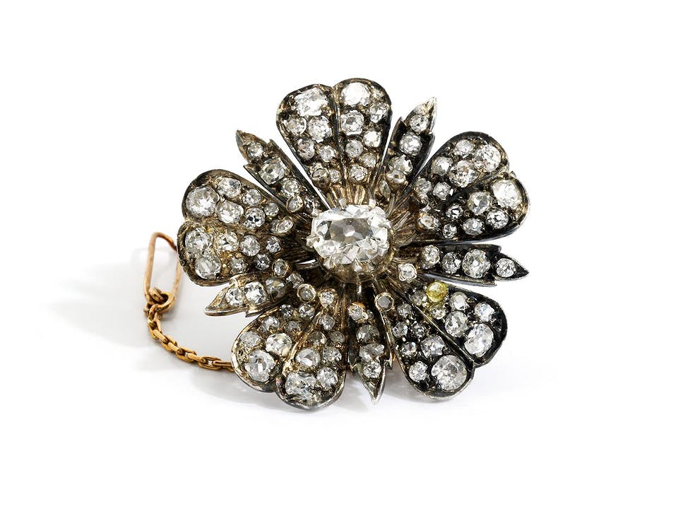 Antike Diamant-Blütenbrosche