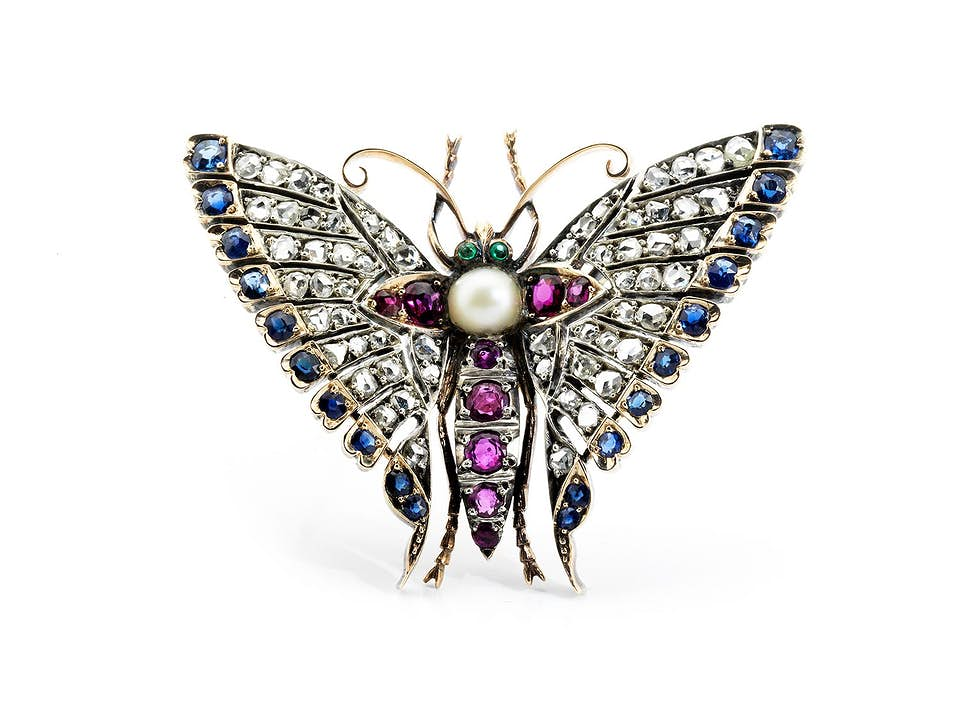 Antiker Schmetterlings-Broschanhänger