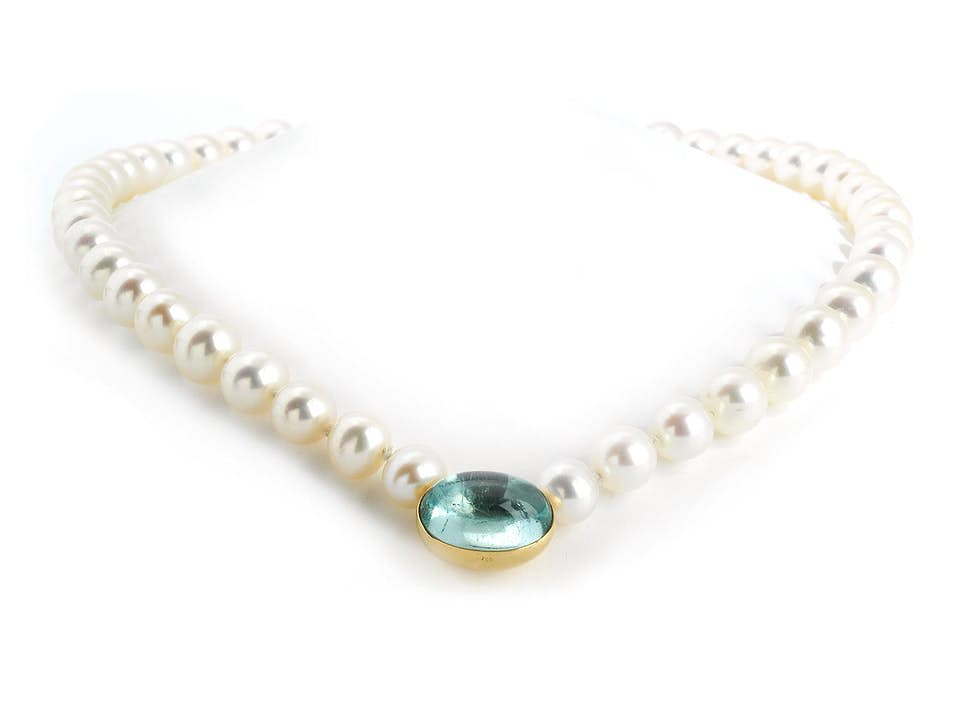 Perlenkette mit Aquamarin
