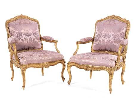 Paar Louis XV-Fauteuils à châssis