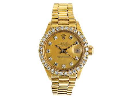 ROLEX Lady Datejust in Gold mit Brillanten und Goldarmband
