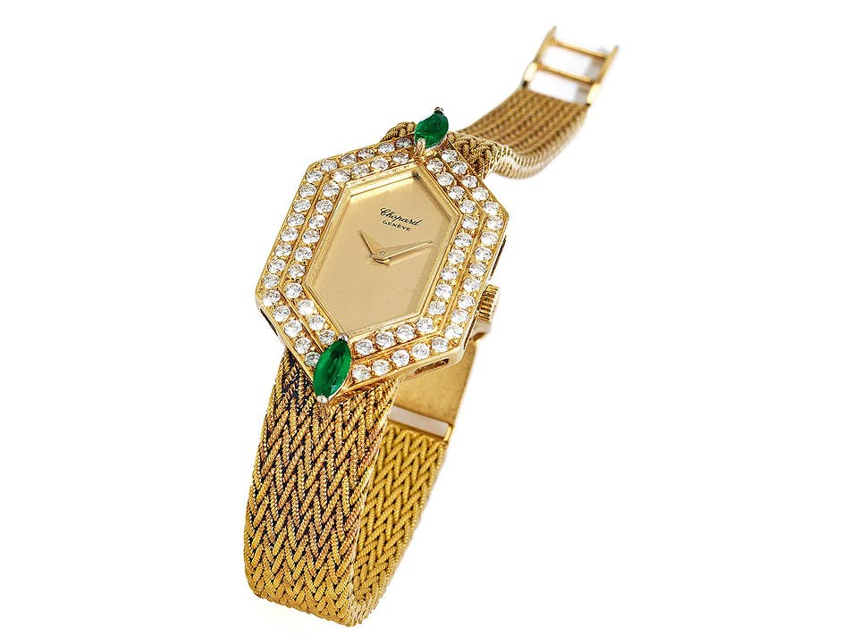 CHOPARD Damenuhr in Gold mit Brillanten und Smaragden