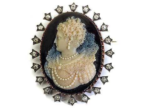 Antike Kamee-Diamantbrosche