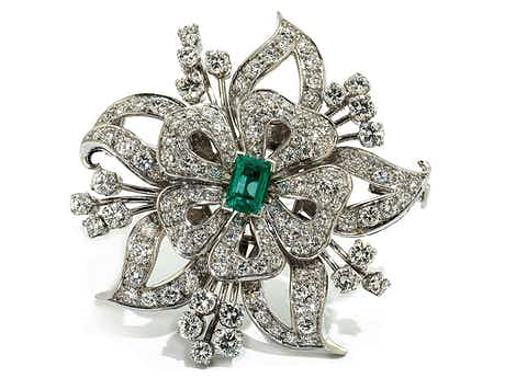 Diamant-Smaragdbrosche