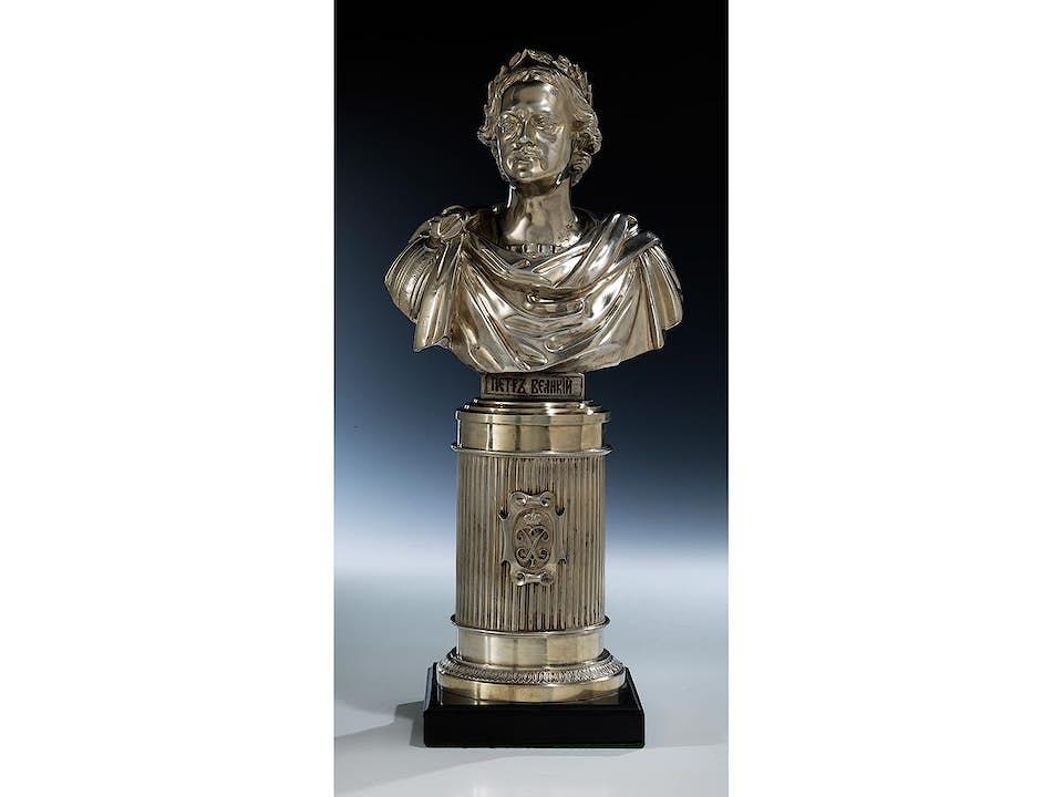 Silberbüste Zar Peter der Große auf hohem Silbersockel
