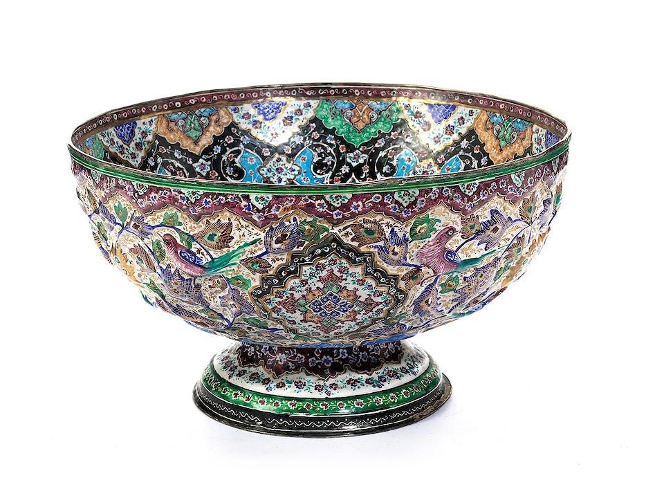 Prachtvolle persische emaillierte Schale