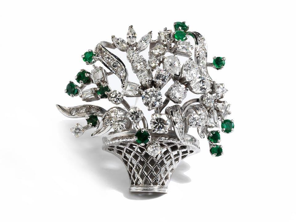 Diamant-Smaragd-Blumenkorbbrosche