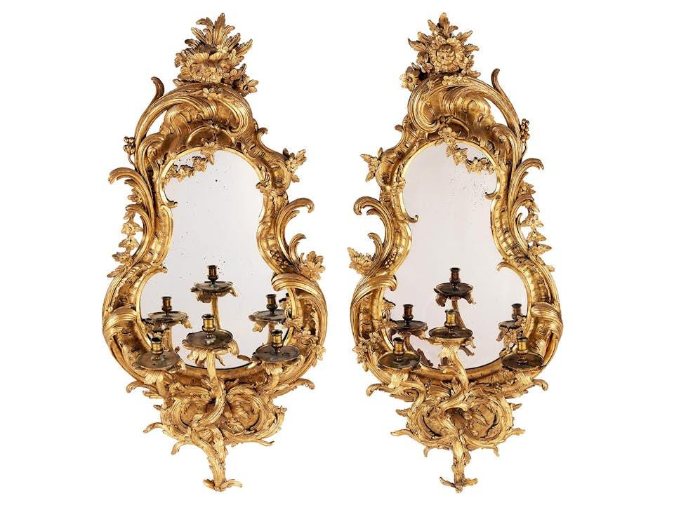 Paar sehr große Rokoko-Spiegelappliken