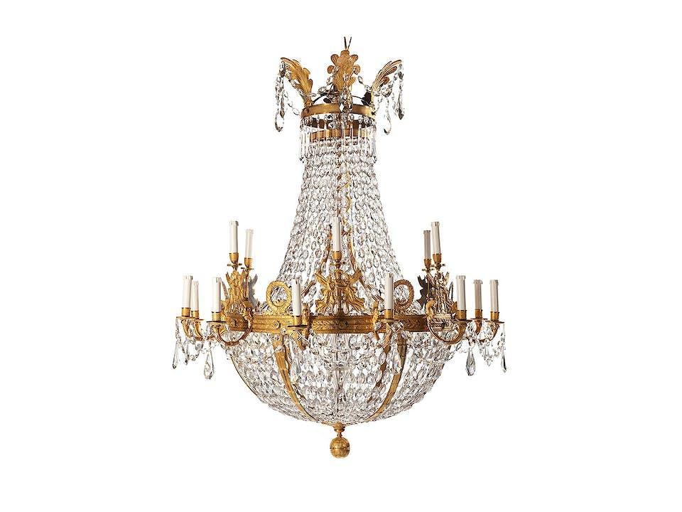 Prachtvoller großer Empire-Kronleuchter aus Kristall und vergoldeter Bronze