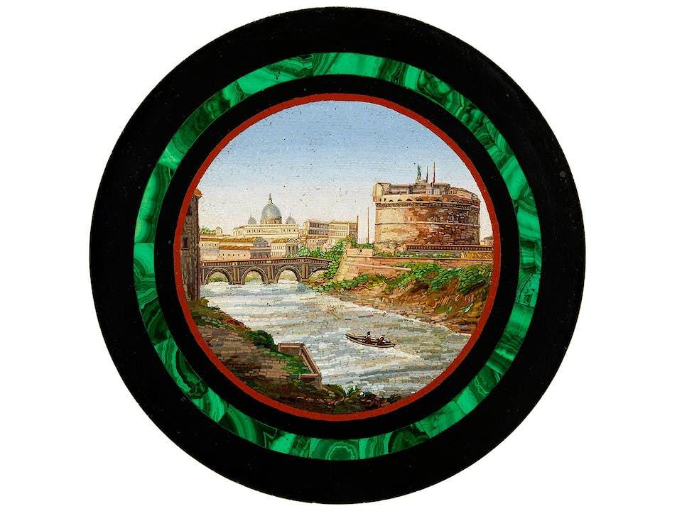 """Feines rundes Mikromosaik mit der Darstellung """"Blick auf den Tiber mit der Engelsburg"""""""