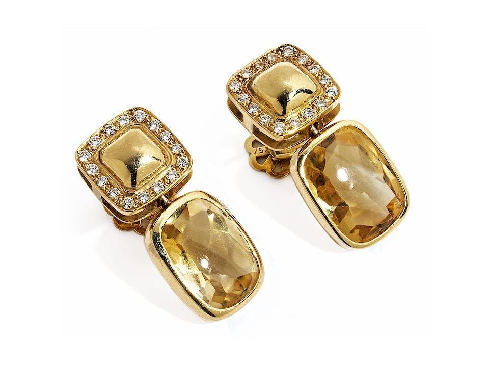 Citrin-Diamantohrringe