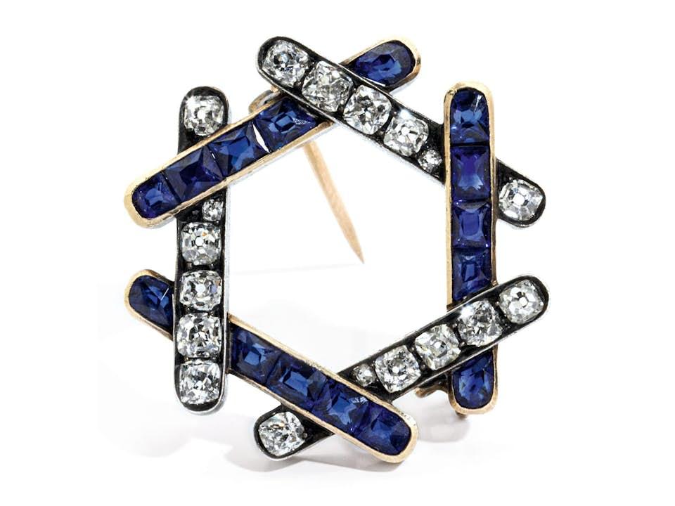 Russische Saphir-Diamantbrosche von August Holmström