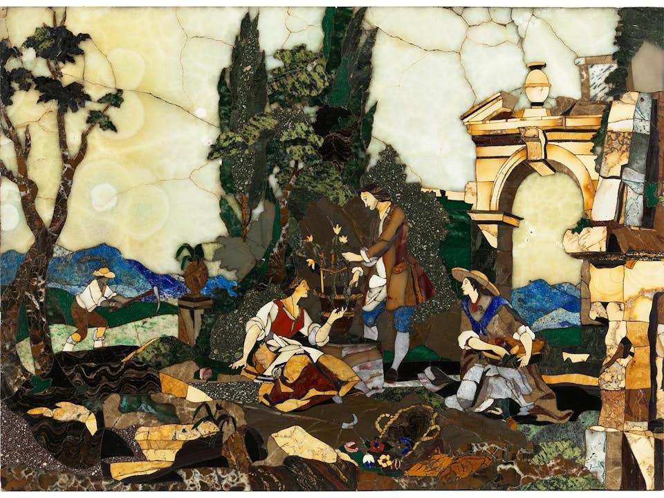 Pietra dura-Bildplatte, wohl Werkstatt des Giovanni Castrucci