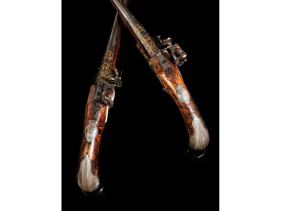 Paar museale Kasseler Pistolen, Geschenk König Friedrich des Großen an seinen Generaladjutanten