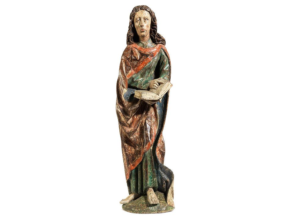 Gotische Schnitzfigur des Heiligen Johannes Evangelist